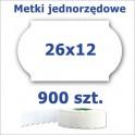 Metki jednorzędowe 26x12 białe, fala 4500szt