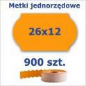 Metki jednorzędowe 26x12 pomarańczowe, fala 4500szt