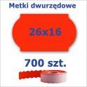 Metki dwurzędowe 26x16 czerwone, fala 3500szt