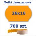 Metki dwurzędowe 26x16 pomarańczowe, fala 3500szt