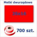 Metki dwurzędowe 26x16 czerwone, prostokątne 3500szt