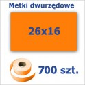Metki dwurzędowe 26x16 pomarańczowe, prostokątne 3500szt